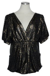 Joseph Ribkoff Leather-like Stretch Bubble Top Bronze Black
