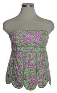 Lilly Pulitzer Scalloped Strapless Top Green Pink