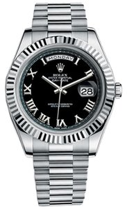 Rolex Rolex Watch Day-Date II President White Gold -- Fluted Bezel Black Dial 218239 bkrp