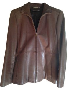 Andrew Marc Chestnut Brown Leather Jacket