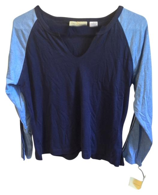 Preload https://img-static.tradesy.com/item/4718920/lord-and-taylor-blue-long-sleeve-two-tone-v-neck-tee-shirt-size-8-m-0-0-650-650.jpg