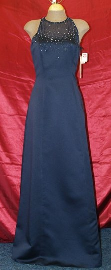 Jordan Fashions Navy Blue Satin High Neck #320 Beaded Gown A Line High Neckline Floor Length Formal Bridesmaid/Mob Dress Size 8 (M)