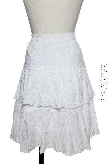 MICHAEL Michael Kors Crinkled Layered Tiered Skirt Ivory