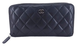 Chanel Chanel Quilted Zip Wallet Black Lambskin