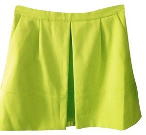 J.Crew Aline Pleated Lime Mini Skirt Lime green