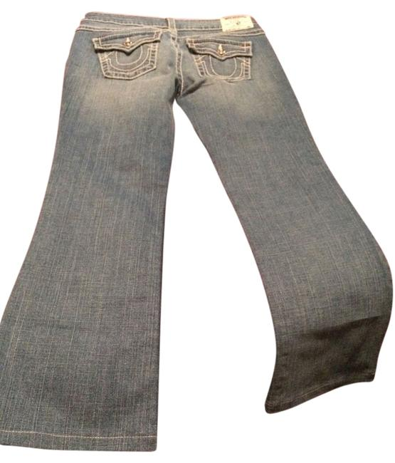 Item - Blue with Pink Stitch Medium Wash Boot Cut Jeans Size 33 (10, M)