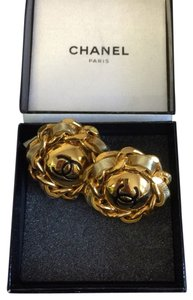 Chanel Chanel Vintage 2.55 Gold Chain & Gold Leather Medallion Clip On Earrings - NWT