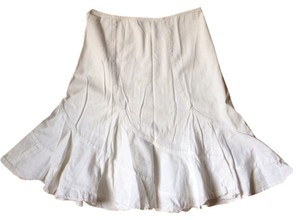 DKNY White Fit And Flare Summer Casual Beach Skirt