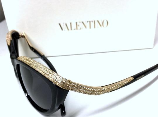 Valentino Valentino Cat Eye Sunglasses Black and Gold with Crystals