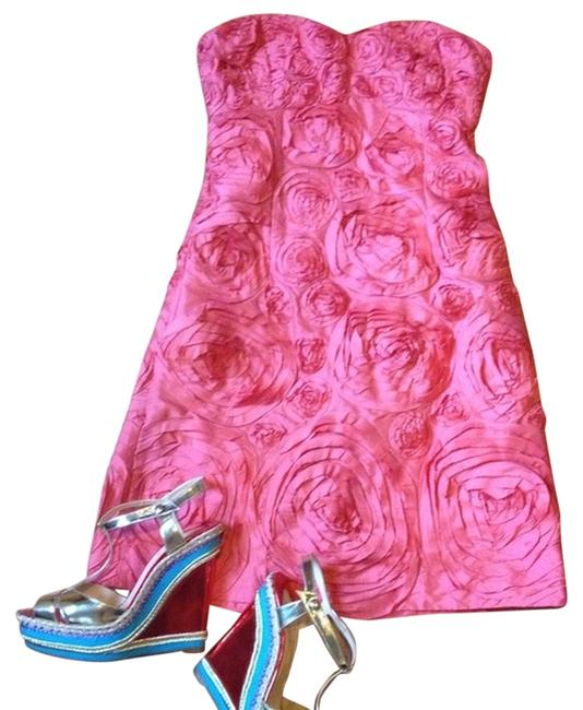 Item - Coral Pink Collection Floral A-line Short Cocktail Dress Size 4 (S)