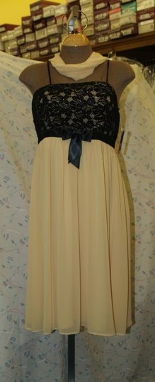 Yellow Short Black/Maize with Shawl Medium #2804 Sexy Bridesmaid/Mob Dress Size 8 (M)