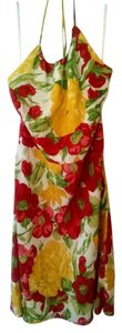 Ann Taylor LOFT short dress white red yellow Silk Halter on Tradesy