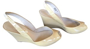 Michael Kors Patent Leather Slingback Sandals Nude Patent Wedges