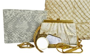 Judith Leiber Snake Lace Gold Cream Clutch