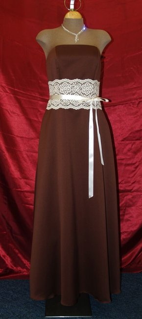Brown Satin Chocolate Strapless with Lace and Ribbon Formal Bridesmaid/Mob Dress Size 8 (M) Brown Satin Chocolate Strapless with Lace and Ribbon Formal Bridesmaid/Mob Dress Size 8 (M) Image 1