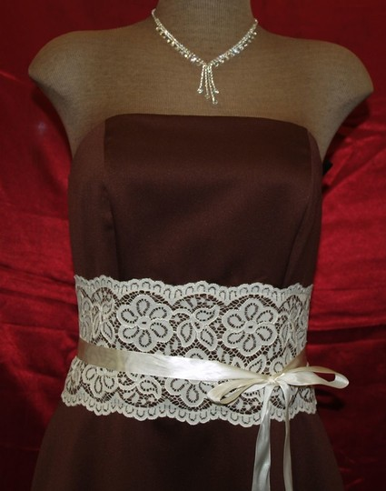 Brown Satin Chocolate Strapless with Lace and Ribbon Formal Bridesmaid/Mob Dress Size 8 (M)