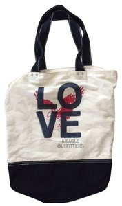 American Eagle Outfitters Tote in Ivory and Navy