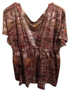 Maurices Top Burgundy with splashes of colors