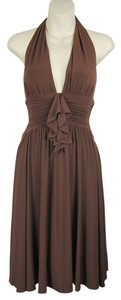 BCBGMAXAZRIA Ruched Shirred Sexy Marilyn Ruffles Dress