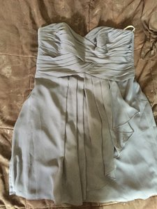 David's Bridal Silver/Gray Chiffon-polyester F14847 Modern Bridesmaid/Mob Dress Size 14 (L)