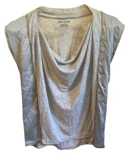 DKNY Chain Collar Draped Drape Top Gray