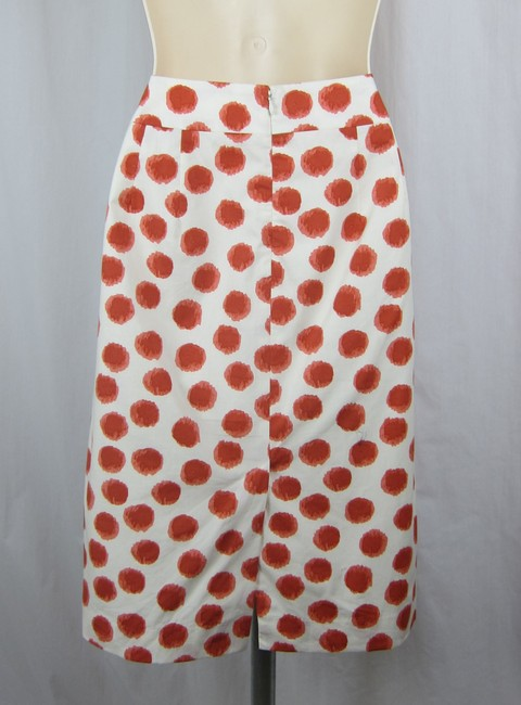 Anthropologie Polka Dot Pencil Straight Skirt white, red