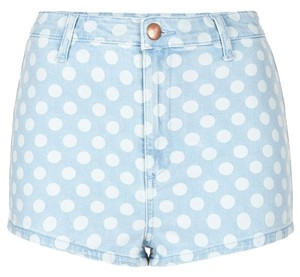 Topshop Polka Dot Bleach Spot Denim Hotpants Mini/Short Shorts blue, white