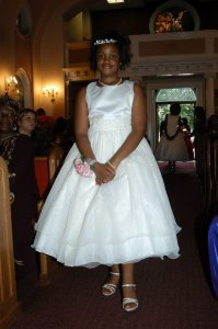 Ivory Tulle And Satin Flower Girl/Jr. Traditional Bridesmaid/Mob Dress Size 16 (XL, Plus 0x)