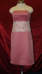 Forever Yours Pink Forever Yours Strapless Rose/ivory Dress Size:16 A Dress