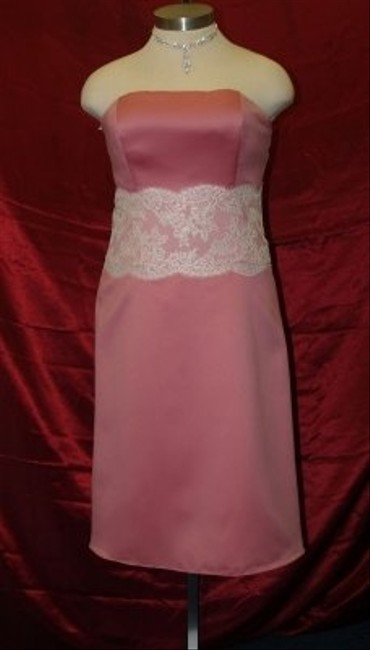 Item - Pink Satin Strapless Rose/Ivory A Modern Bridesmaid/Mob Dress Size 16 (XL, Plus 0x)