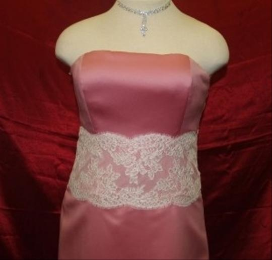 Forever Yours Pink Satin Strapless Rose/Ivory A Modern Dress Size 16 (XL, Plus 0x)