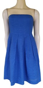 J.Crew short dress Blue Seersucker Strapless Cotton on Tradesy