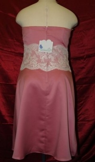Forever Yours Rose Pink Satin /Ivory A78117 Feminine Bridesmaid/Mob Dress Size 14 (L)