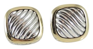 David Yurman David Yurman Sterling Silver 18K Yellow Gold 14x14mm Carved Cable Albion Earrings - Retail $1250