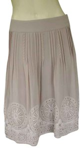 Chico's Embroidered Pretty Skirt Beige