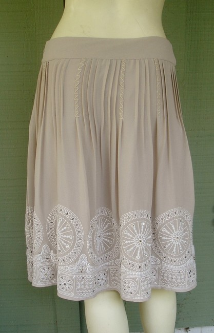 Chico's Embroidered Pretty Sequin Skirt Beige