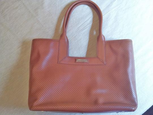 Lambertson Truex Vintage Never Used Detachable Organizer Interior Zipper Pocket Lots Of Interior Pockets Perforated Leather Tote in Saddle