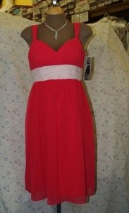 Forever Yours Other Chiffon Fuscia/Pink Stylea78202 Casual Bridesmaid/Mob Dress Size 8 (M)