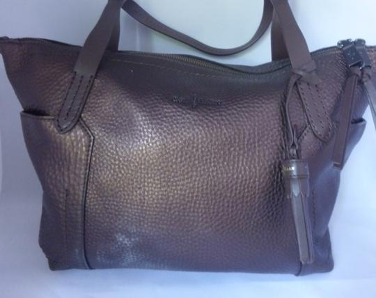 Cole Haan Leather Metallic Tote in Deep Rust
