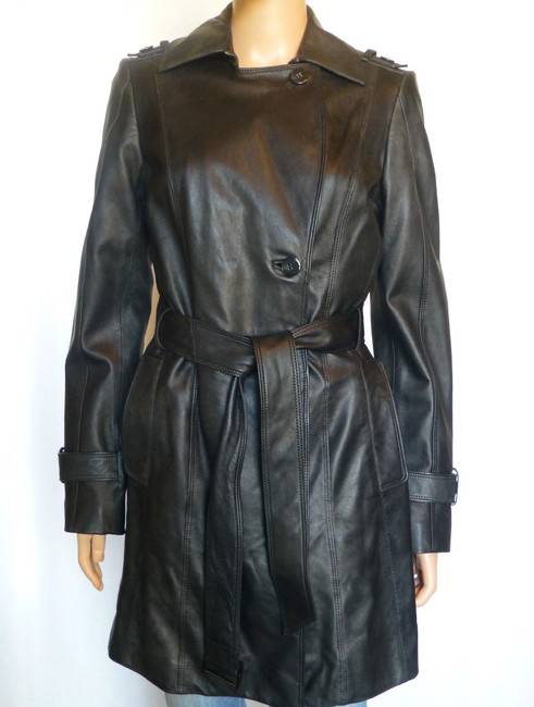Cole Haan Leather Trench Coat Leather Jacket