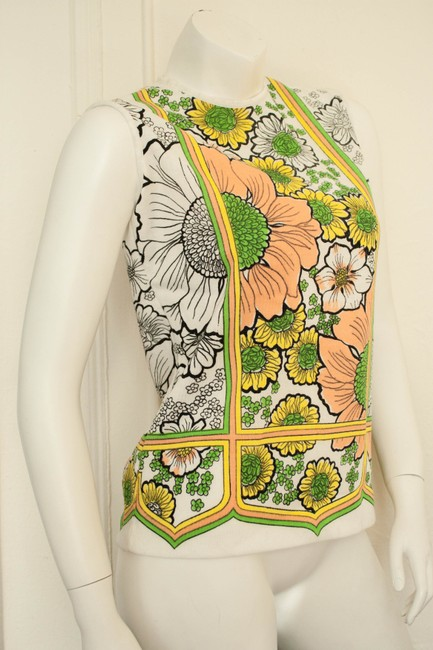 Other 1960s 1970 70s 60s Hippy Hippie Boho Bohemian Shift Blouse Tank Spring Summer Fall Knit Knitted Woven Sunflower Floral Tunic