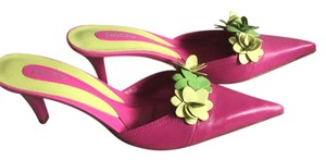 PAZZO Brazil - Shocking Pink - Green Flowers - Pointed Toe - Mule Heal Sandals