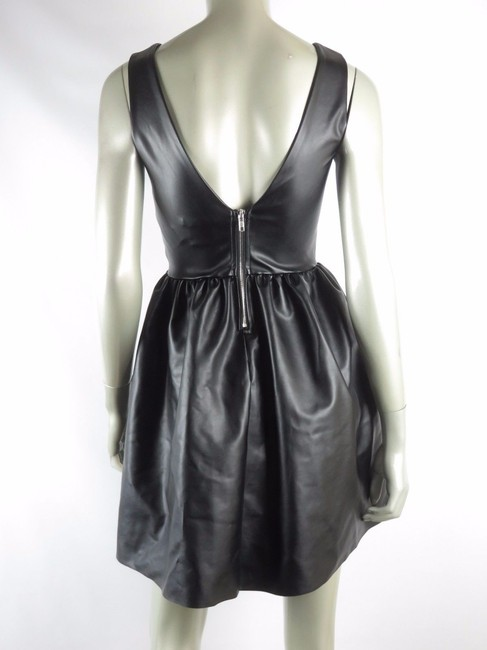 Bar III Zipper Faux Leather A-line Open Sleeveless Pleated Party Pleather Leather Exposed Zipper Boat Neck Dress