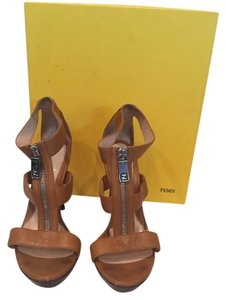 Fendi Leather Platform Zipper Brown Platforms
