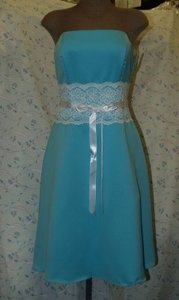 Blue Satin Short Strapless Tiffany R10511 Formal Bridesmaid/Mob Dress Size 12 (L)