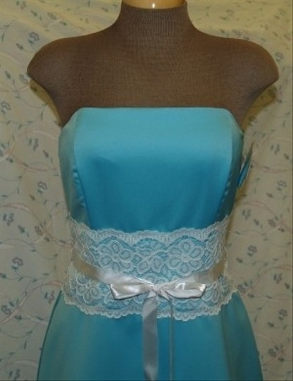 Blue Satin Short Strapless Tiffany R10511 Formal Bridesmaid/Mob Dress Size 12 (L) Image 1