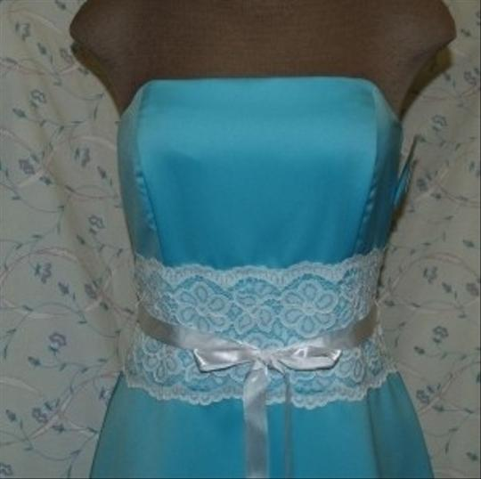 Blue Satin Short Strapless Tiffany R10511 Formal Bridesmaid/Mob Dress Size 12 (L) Image 2