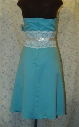 Blue Satin Short Strapless Tiffany R10511 Formal Bridesmaid/Mob Dress Size 12 (L) Image 3