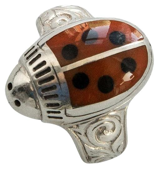 Walter Schluep Walter Schluep Red Enamel Ladybug Sterling Silver Ring M822c