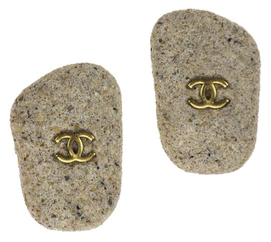 Chanel Chanel Vintage Sand Clip On Earrings
